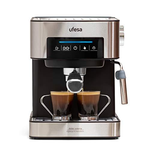 Ufesa CE7255 Espressomaschine mit Siebträger, 20 Bar, Digital Touchpanel, Verdampfer, gemahlener oder...