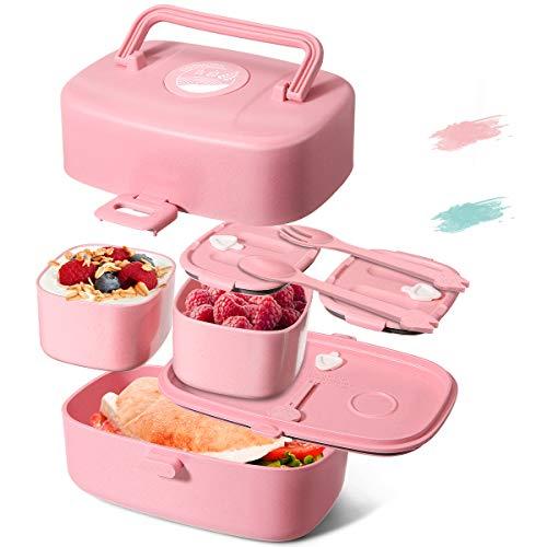 Godmorn Lunchbox für Kinder, Brotdose Kinder mit Griff, Bento Box mit 3 fächern - Besteck Aus Weizenstroh...