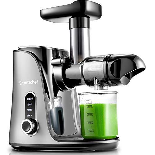 AMZCHEF Entsafter Slow Juicer leistungsstarker Entsafter für Obst und Gemüse mit 2 Geschwindigkeitsmodi, 2...