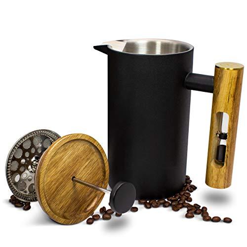 MoreFlavor French Press aus Edelstahl und Acacia Mangium Holz - der perfekte Kaffeebereiter für Ihr Zuhause -...