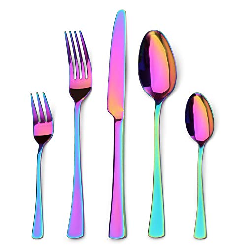 Sharecook 30 Stück Titanium Regenbogen Farbe Plated Besteck, 30 Stück Bunte Besteck Set, Multi Farbe Besteck...
