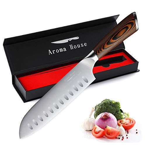 Aroma House Santoku Messer 7 Zoll (18 cm) Kochmesser Küchenmesser Profi Chefmesser Allzweckmesser Aus...