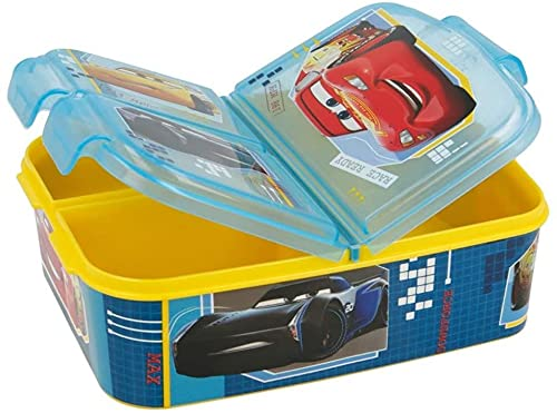 Cars Kinder Brotdose mit 3 Fächern,Kids Lunchbox,Bento Brotbox für Kinder - ideal für Schule, Kindergarten...