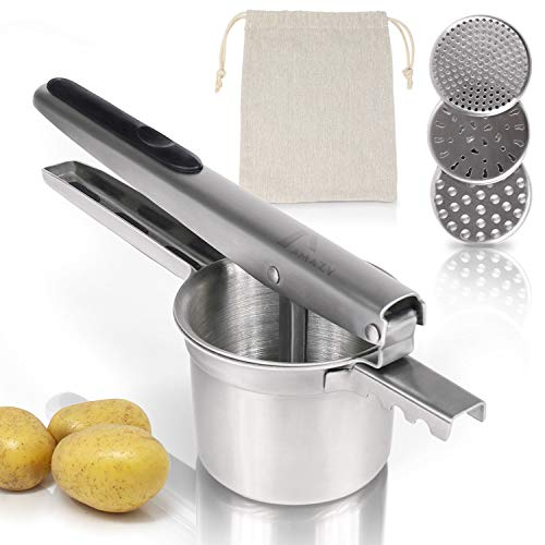 Amazy Kartoffelpresse inkl. 3 Siebeinsätze und Kartoffelsack – Spülmaschinenfeste Presse aus Edelstahl...