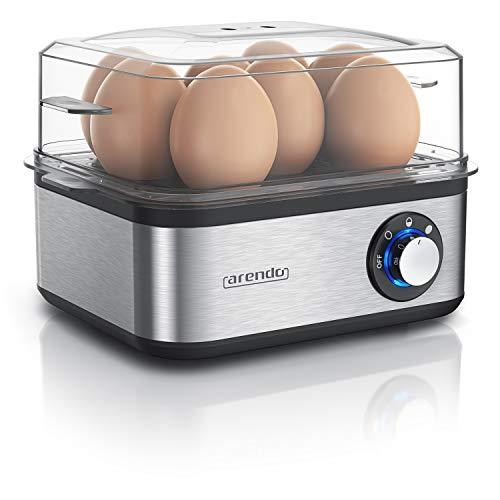 Arendo - Eierkocher Edelstahl für 1 bis 8 Eier - Egg Cooker - 500 W – Kontroll Leuchte – Drehregler für...