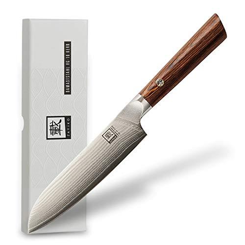 zayiko Kass Damastmesser kleines Santokumesser 12,50 cm Klinge extrem scharf aus 67 Lagen I Damast...