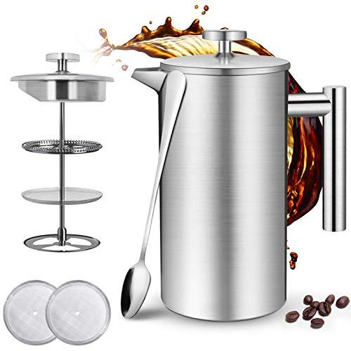 Jaspik French Press 1 Liter, Kaffee French Press aus Edelstahl, Doppelwandige Isolierte Kaffeebereiter...