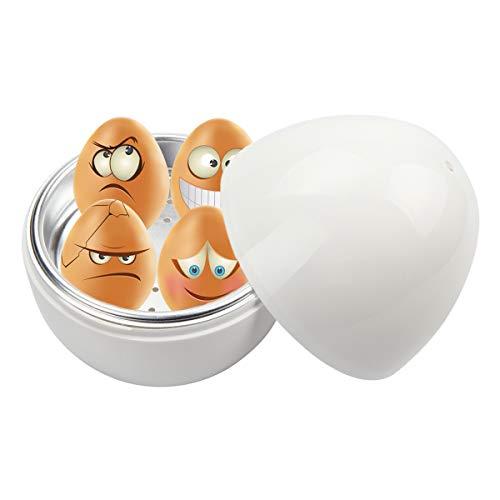Kitchnexus Eierkocher für Mikrowelle mit Praktischer Wasserwannen, Weiß, in Eierform, für bis 4 Eier