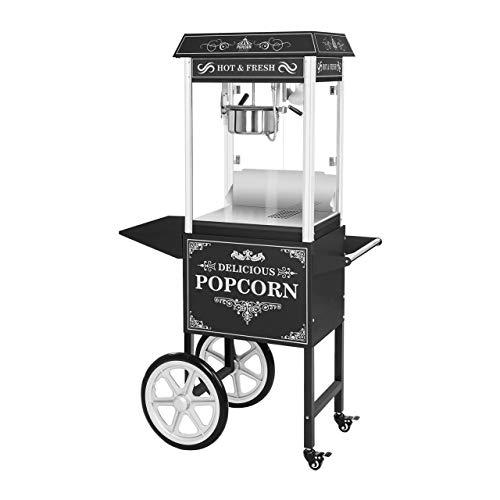 Royal Catering RCPW.16.2 Popcornmaschine retro Popcorn Maker groß Popcorn Bereiter mit Wagen Schwarz