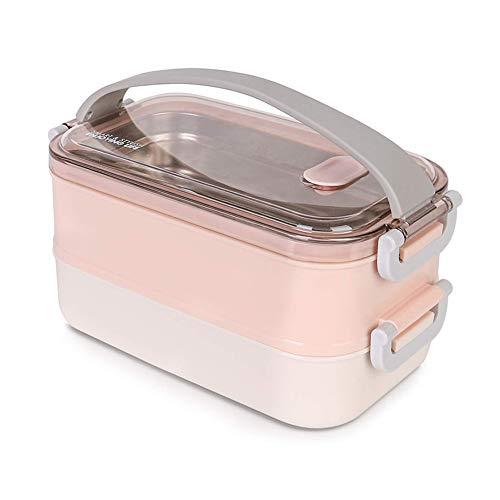 Melisen Lunchbox - Brotdose mit Fächern Praktische Bento Box mit Edelstahlsbehälter Die doppelschichtige...