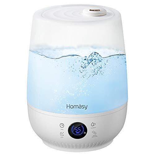 Homasy Ultraschall Luftbefeuchter, 4.5L Top-Füllung Humidistat Touch Screen Humidifier bis zu 40-50m², 28dB...