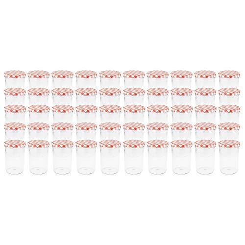 WELLGRO® Einmachgläser mit Schraubdeckel - 435 ml, 8,5 x 12 cm (ØxH), Glas/Metall, rot karierte Deckel To...