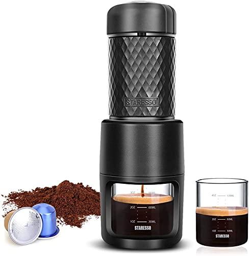 STARESSO Espressomaschine Tragbare Kaffeemaschine Manuelle mit Kaffee Kapseln und Kaffeepulver Alles-in-Einem...