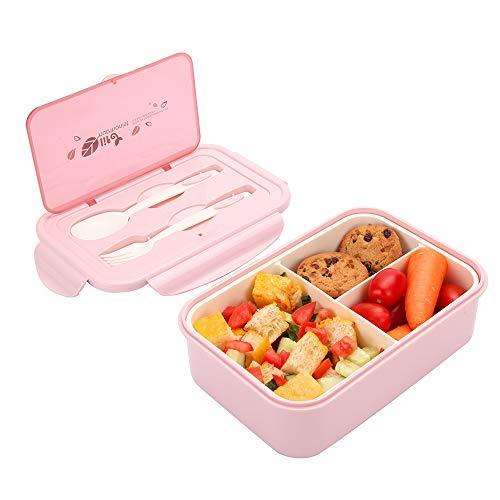 1000 ml Brotdose aus Kunststoff für Kinder Und Erwachsene, Bento Box Lunchbox mit 3 Fächern und Besteck,...