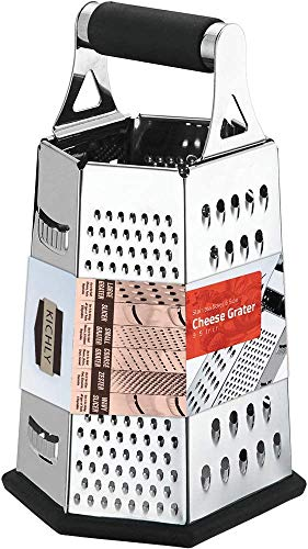 KICHLY [6 Seite ] Reibe - Edelstahl Vierkantreibe - 24 cm Höhe - Lebensmittelreibe für Hart- & Weichkäse,...