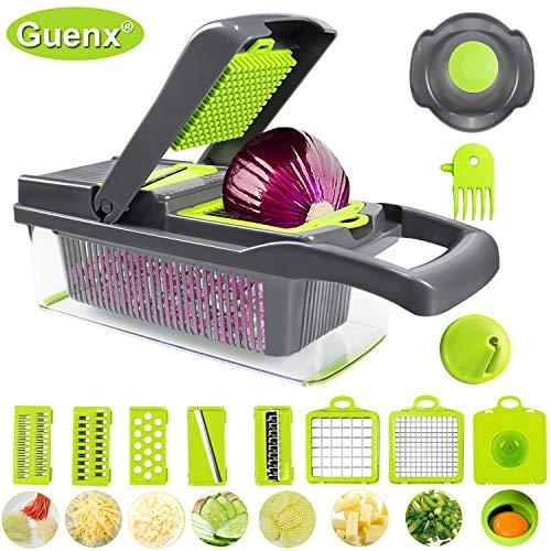 Guenx®Gemüsehobel, 12 in 1 Gemüseschneider   Zwiebelschneider  ...