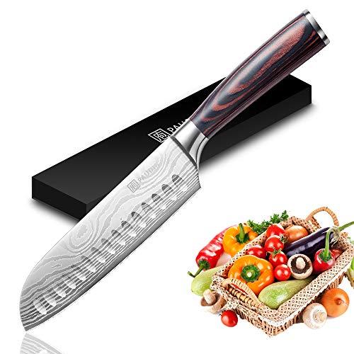 PAUDIN 17cm Santokumesser Kochmesser aus deutschem Messerstahl, Sushi Messer Küchenmesser mit ergonomischem...