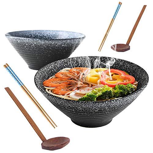 2 Sätze / 6 Stück Japanische Keramik Ramen Schüssel Set, 23,5cm / 9Inch, Füllmenge 1350 ml Vintage Salat...