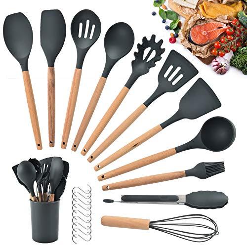 HALOVIE Silikon Küchenhelfer Set 12 Stück Küchenutensilien Set, Antihaft Kochgeschirr Set Hitzebeständig...