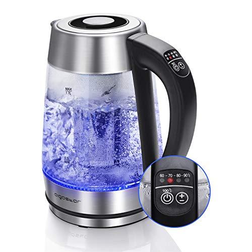 Aigostar Glas Wasserkocher 2-in-1 Teekocher mit Teesieb, 2200W 1.7L, Temperatureinstellung 60°-100°C...
