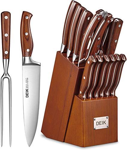 Deik Messerblock Set | Messerset | 16-TLG Messer mit Holzgriff | Edelstahl Kochmesser Set mit Holzblock |...