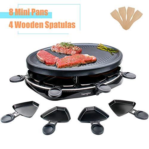 Raclette Grill 8 Personen Tischgrill Elektrisch mit 8 Raclette Pfännchen und 4 Holzspateln 1300W...