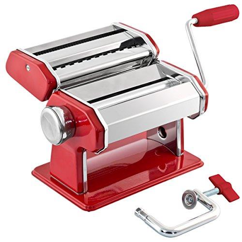 bremermann Nudelmaschine Edelstahl/Metall rot - für Spaghetti, Pasta und Lasagne (7 Stufen), Pastamaschine,...