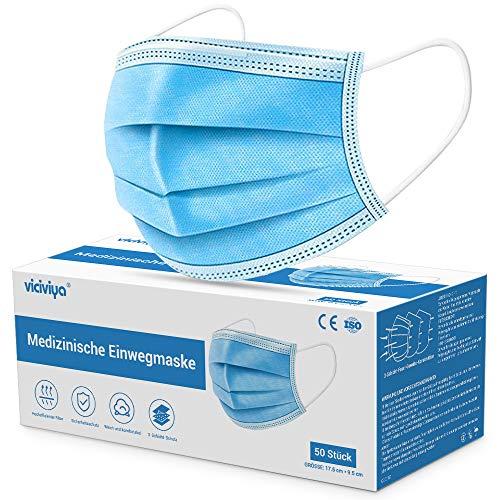 Medizinische Gesichtsmaske, VICIVIYA Mund-Nasen-Masken 50 Stück, 3-lagig, Einweg-Masken, Einweg-Ohrschlaufen,...