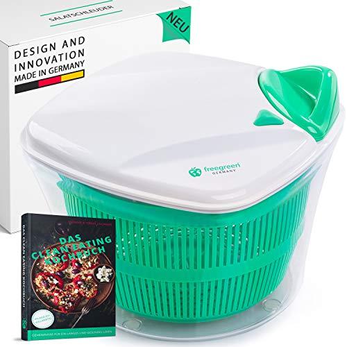freegreen® Premium Salatschleuder [5L] mit patentierten Zugmechanismus, Siebeinsatz & Deckel mit integriertem...