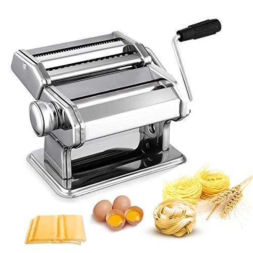Nudelmaschine Pasta Maker Edelstahl Frische Manuell Pasta Walze Maschine Cutter mit Klemme für Spaghetti...