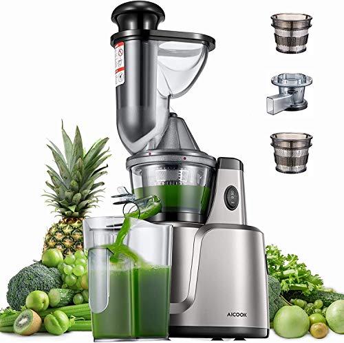 Entsafter AICOOK, 3-In-1-Slow Juicer für Gemüse und Obst, Babynahrung und Eiscreme, 75 mm Wide Mouth,...