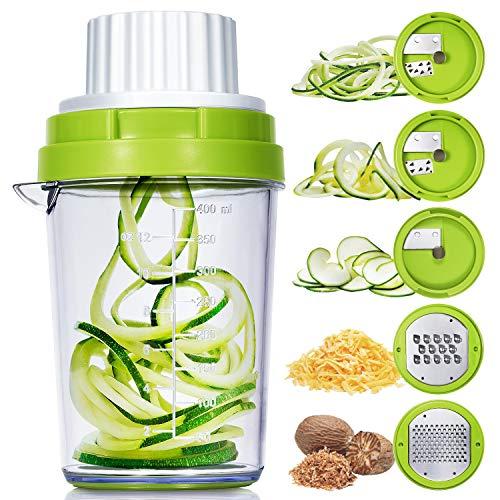 Adoric Spiralschneider 5 in 1 2020 Gemüse Spiralschneider, Gemüsehobel für Karotte, Gurke,...