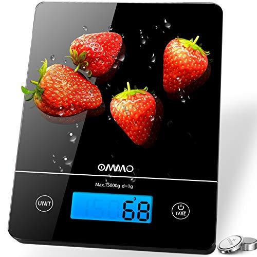 OMMO Küchenwaage, 15kg Digitalwaage mit Tara-Funktion & LCD-Display...