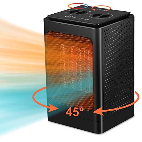 Heizlüfter Heizung Elektrisch,1500W/750W Heizlüfter Energiesparend mit Überhitzungsschutz,Kleine Keramik...