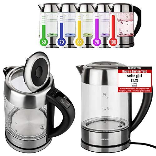 DUNLOP Glas Wasserkocher Teekocher 1,7L Edelstahl mit Temperaturwahl, Warmhaltefunktion, LED Beleuchtung,...