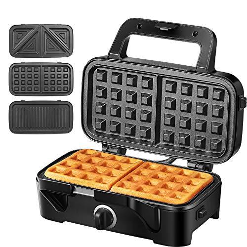 Sandwichmaker Waffeleisen Sandwichtoaster 3 in 1, 1200W Temperaturregelung mit 3 Abnehmbare Platten für Toast...