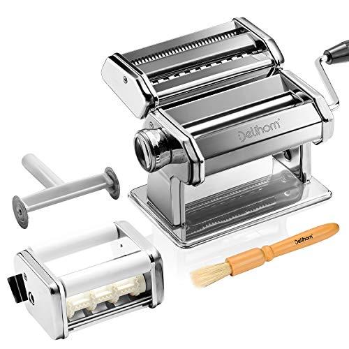 Delihom Nudelmaschine Edelstahl, Nudelmaschine Manuell, Ravioli Aufsatz, für Spaghetti, Pasta und Lasagne,...