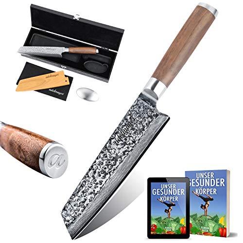 adelmayer® Profi Kiritsuke Damast Küchenmesser 18cm extrem scharfe Klinge aus japanischem Damaststahl mit...