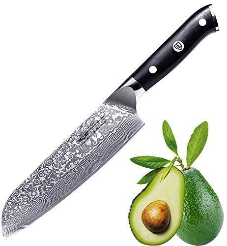 Kitchen Emperor Damastmesser Santoku, Kochmesser Santokumesser, 67 Schichten Damastmesser mit G10 Griff