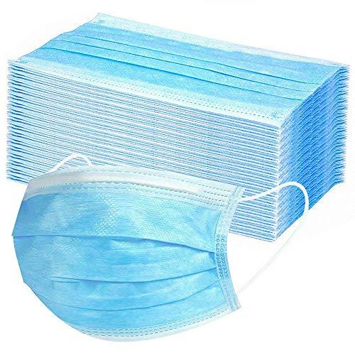 50 Stück Masken Mundschutz Einweg Mund und Nasenschutz blau Staubmasken Einmalmasken, MNS Einwegmasken...