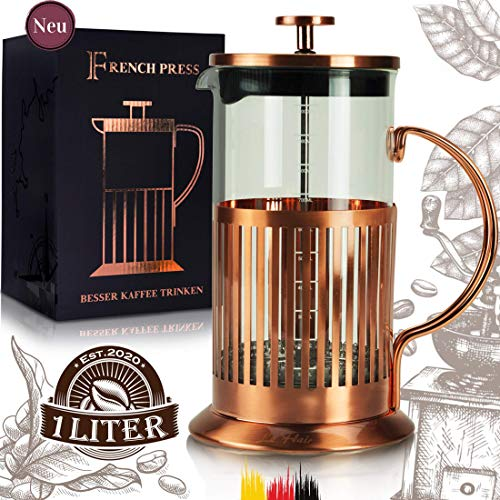 Le Flair® French Press für 1 Liter Kaffee - Tee Presskanne aus Glas mit Kupfer ummantelt - Kaffeebereiter...