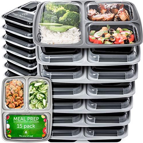 Meal Prep Boxen 3-Fach 15 Pack - Wiederverwendbar Essensbox Food Prep Boxen Lunchbox Luftdichter...