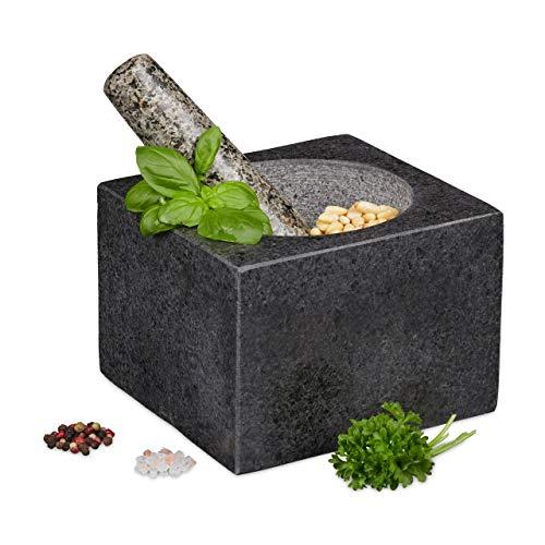 Relaxdays Mörser mit Stößel, Granit, poliert, für Gewürze & Kräuter, 500 ml, Steinmörser BxT: 14,5 x...