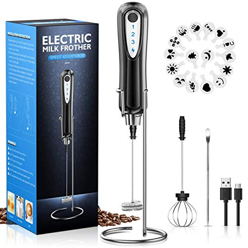 CAVN Elektrischer Milchaufschäumer mit Edelstahlständer, 2 in 1 Doppeltem Quirl 3-Gang USB Aufladbar...