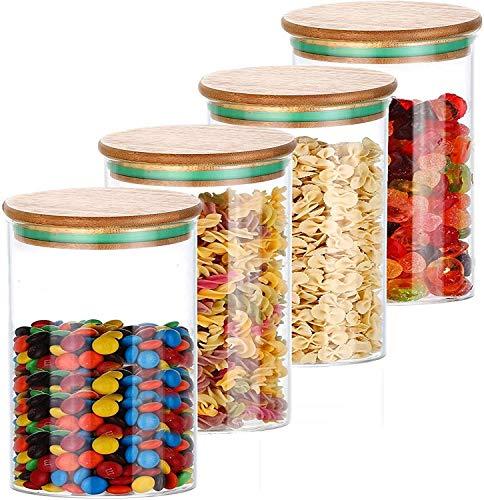 Glas Vorratsdosen Set 800ml mit Deckel 4er - Luftdicht - Spülmaschinenfest - 8 Dichtungen