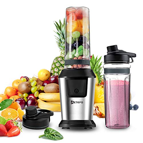 AETKFO Smoothie Maker, 500Watt Mini-Standmixer, Multifunktion Smoothiemaker mit Tritan 2 * 600ml Travel...