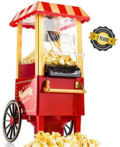 Gadgy Popcorn Maschine | Retro Popcorn Maker | Heissluft Ohne Fett Fettfrei Ölfrei