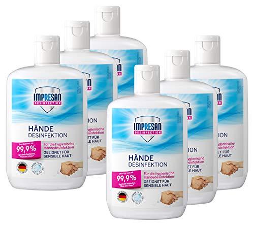 Impresan Hände Desinfektion: Flüssiges Desinfektionsmittel - hygienische Handdesinfektion 6 x 150ml im...