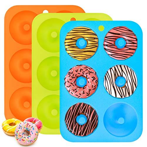 Silikon Donuts Backform, 3er Pack Donut Maker Antihaftbeschichtet, 6 Hohlraum Flexible Silikonform zum Backen...