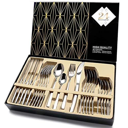 Elegant Life Silber besteck Set, 24-teilige Besteck Set, aus Japan-Edelstahl Hochwertige Spiegelpolierte...